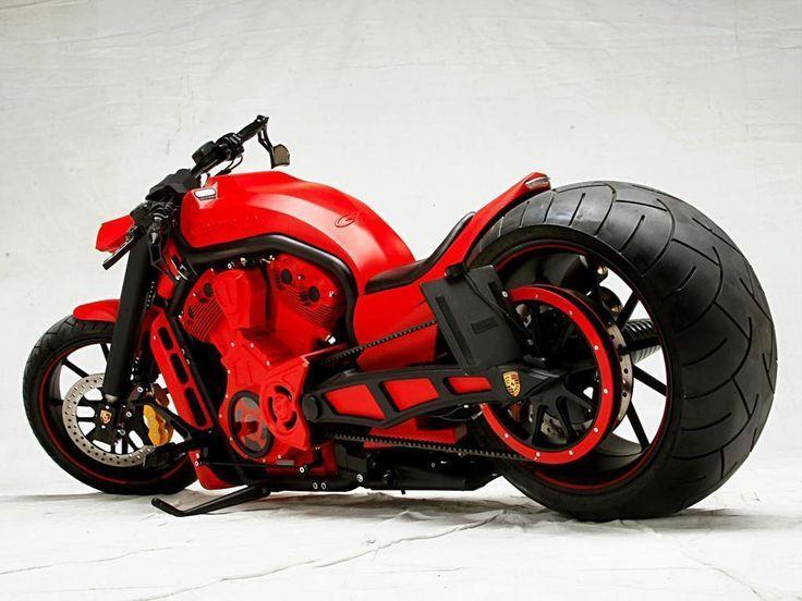 Red Porsce Custom Motorcycle