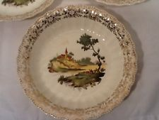 American Limoges Three Chateau France IK-S518 7 7/8 In Bowl Warranted 22 K Gold