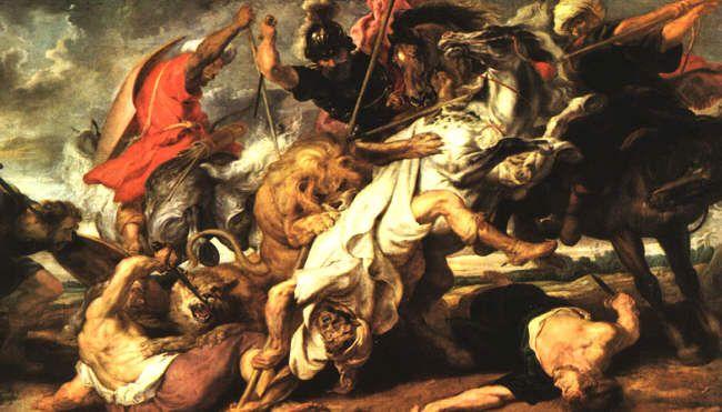 Je ziet aan hoe de leeuw de man van zijn paart af trekt dat er strijd aanwezig is. Verder zie je rechts onderin een man liggen die dood lijkt. Er is veel paniek te zien op deze afbeelding.