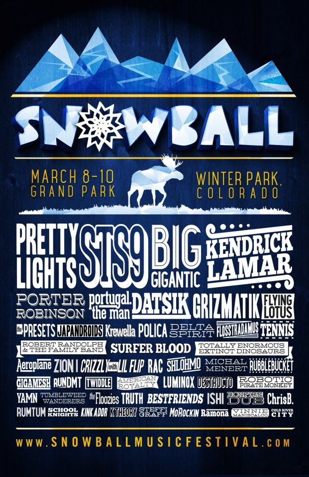 Is anyone heading to Snowball Music Festival in Winterpark this weekend?  There will be three nights of amazing music, ice sculptures, and a huge ski and snowboard jump near the main stage where extreme athletes will be showing off their skills!