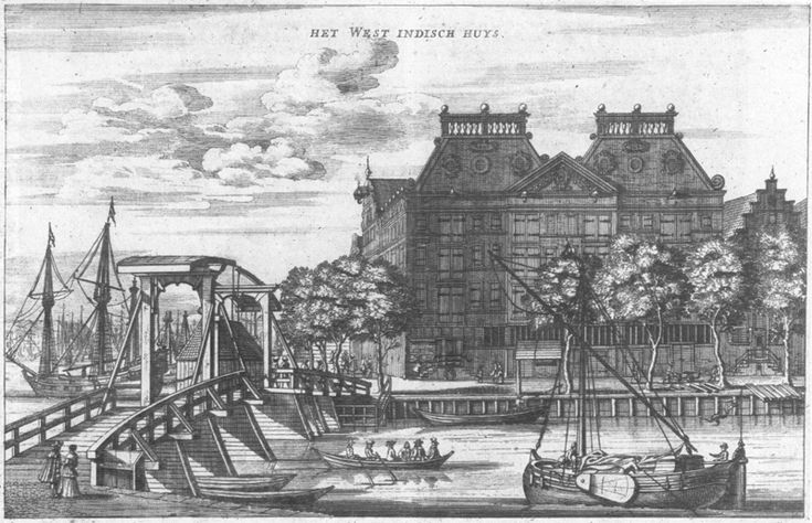 The West India House in Amsterdam. 1655. Engraving.