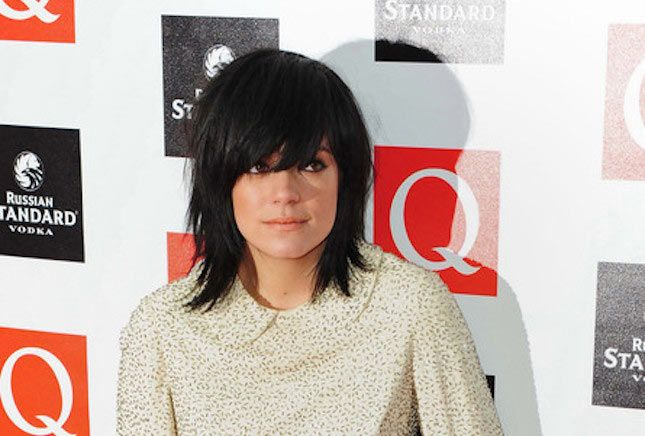 Lily Allen's dark and shaggy medium-length cut with fringe (that's what they…