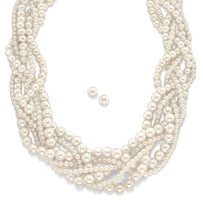 """Braided strands of faux pearls hang with glamour on a goldtone chain. Includes matching faux pearl studs.· Necklace: 18"""" L with a Lobster Claw clasp· Extender: 3 1/2"""" L· Earrings: pierced, 5/16"""" with Post and Bullet clutch· Imported"""