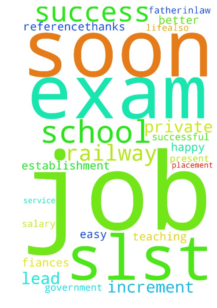 Please pray for my success in slst exam - Please pray for my success in slst exam so that I get a government job in school by this exam and also pray for 20000 as increment in my present job. And pray for my fiances better placement in private job soon with 20000 as salary and also for his railway service soon so that we can get married soon after well establishment and lead a happy n successful life.Also pray for my teaching job in railway school with the help of fatherinlaw through his…