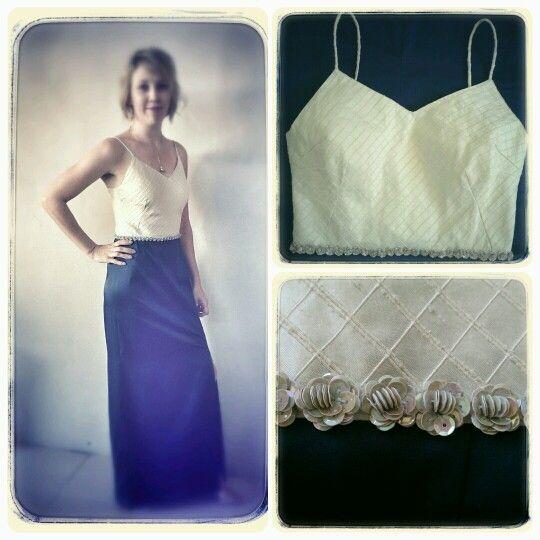 DRESS - Cream Silk V Neck Bodice, Navy Blue Skirt with Sequin Detail at Waist