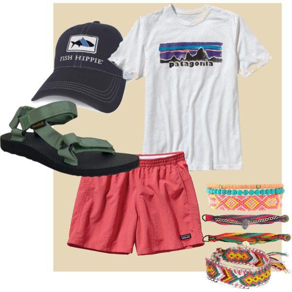 Hike  -shoes - teva -shorts- patagonia (baggies) -trucker hat (turn backwards) -any cool tshirt (goodwill) -DIY friendship bracelets
