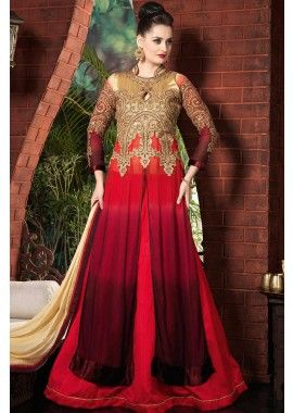 or, rouge, georgette marron costume Anarkali, - 170,00 €, #robeindienne #Tenueindienne #Tenuepakistanaise #Shopkund