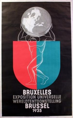 Brussels Exposition 1935 - original vintage poster by Leo Marfurt listed on AntikBar.co.uk