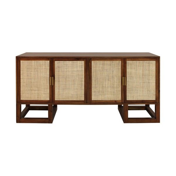 PATRICK ACA - FOUR DOOR CABINET WITH CANE DOOR FRONTS AND BRASS HARDWARE IN ACACIA WOOD  1169