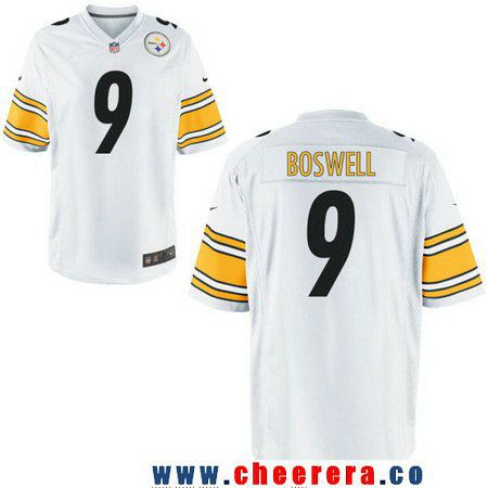 73916ba4468 ... Mens Pittsburgh Steelers 9 Chris Boswell White Road Stitched NFL Nike  Game Jersey ...