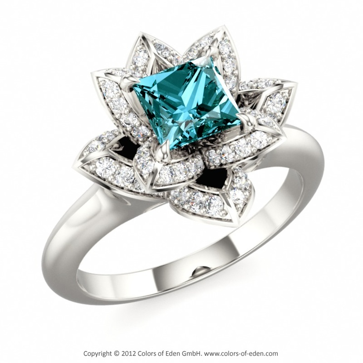 Lotus Ring with London Blue Topaz
