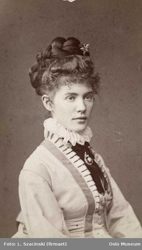 Painter Sophie Thomesen, 1873. Love her hair and dress ... such a pretty woman.