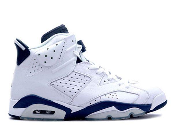 Cheap Nike Air Jordan Retro 6 Shoes In White Blue