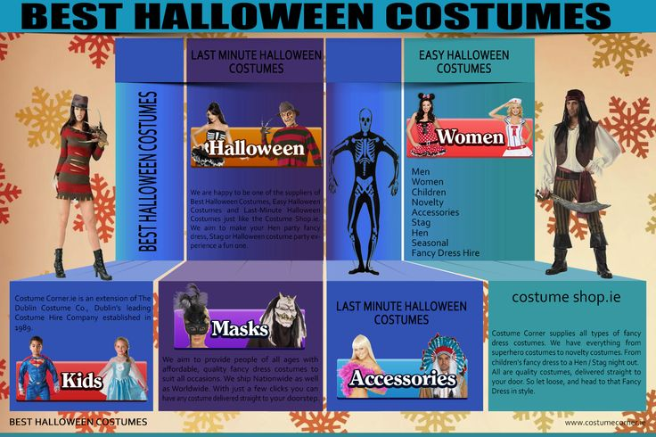 Halloween is coming up and what bothers you the most is the Best Halloween Costumes that you are going to wear. This festival is the right time to show up your creativity with fashion and clothes. The right mixture would give you all the attention. Click this site http://www.costumecorner.ie for more information on Best Halloween Costumes. There are different outfits that differ according to your age and of course your size.
