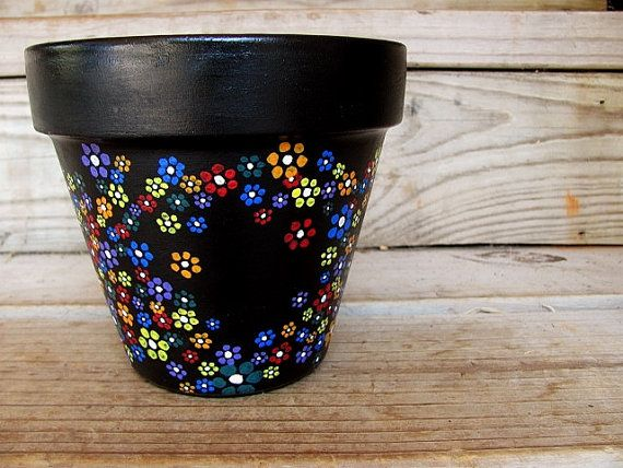 Flower Power Pot by ThePaintedSnapdragon on Etsy