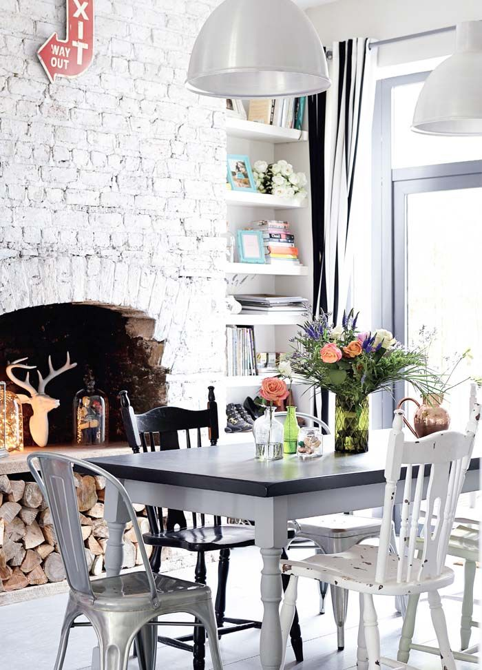 Dining Room + white and modern