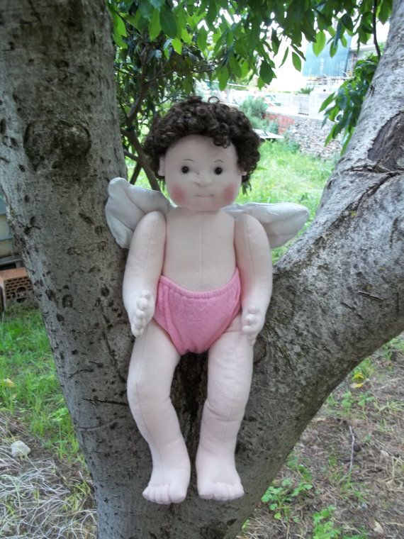 Soft Sculpture Doll Angel Baby in my Garden  Download Digital Pattern PDF  33 pages.