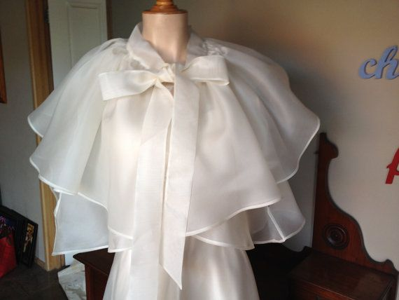 Claudette 1930's style Wedding Cape Silk Satin Organza Bridal Evening Wrap Custom made by Empireroom $220.00