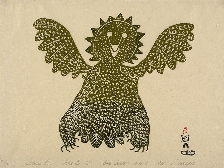 """Pitseolak's vibrant images were chosen to be editioned for the Cape Dorset print collection year after year. """"Joyful Owl,"""" 1961, printed by Eegyvudluk Pootoogook."""