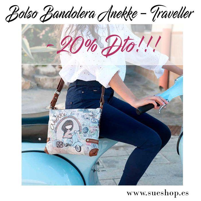 """Bolso Bandolera Anekke """"Traveller"""", con compartimento principal con cremallera, varios bolsillos interiores para llevarlo todo bien organizado y un bolsillo en la parte trasera, también con cierre de cremallera.  Con correa regulable y desmontable para llevar el bolso colgado al hombro o bien en bandolera. @sueshop_es #anekke #bolso #bandolera #complementos #oferta #descuento #rebajas"""