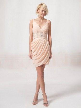 Boncuklu kemer süslemeli v yaka abiye elbise