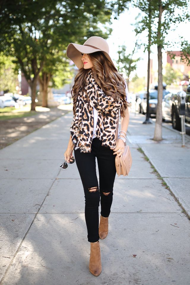 leopard scarf black pants