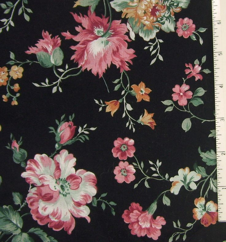 Fabric Cotton Black Pink Rose Floral Print Lightweight 44