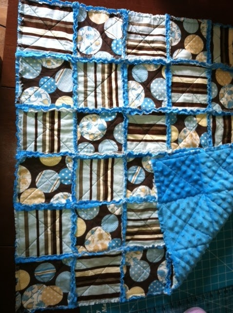 Rag Quilt I made for a friends baby boy