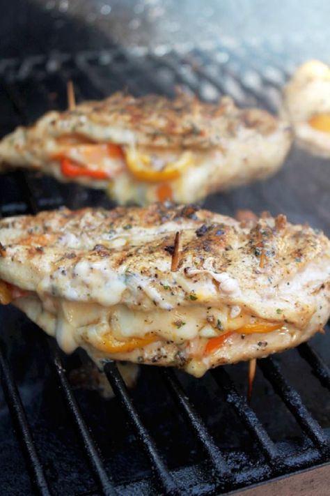 Grilled Chicken Stuffed with Cheese and Peppers