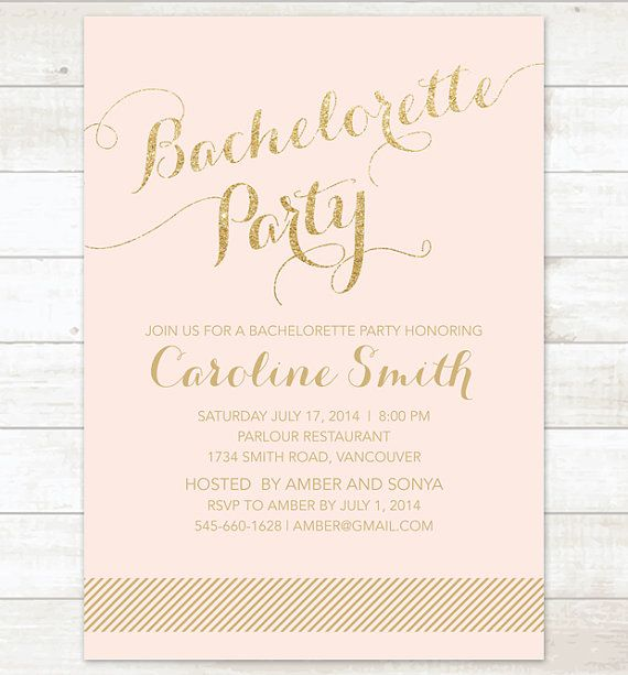 gold pink bachelorette party invitation by pinkdahliaprintable