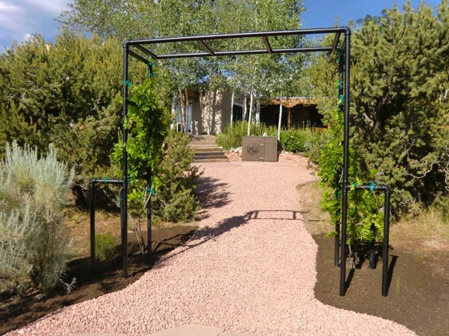 galvanized pipe trellis.  Add 3 coats of oil-based  finish paint, fill the holes, clean up path, mulch, re-attach wisteria, water, and stand back!