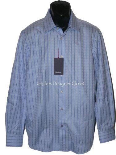 NWT ROBERT GRAHAM Size-16.5 42 dress shirt blue white striped men's designer