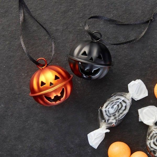 The Contemporary Home Pumpkin Bell Halloween Decorations ($10) ❤ liked on Polyvore featuring home, home decor, holiday decorations, pumpkin home decor, halloween home decor, contemporary home decor and contemporary home accessories
