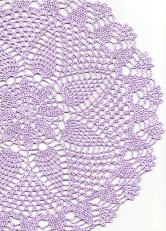 Crochet doily, lace doily, table decoration, crocheted place mat, doily tablecloth, table runner, napkin, lilac via Etsy