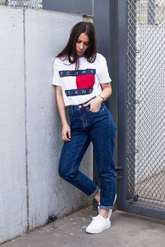 Classic mom jeans paired with boyfriend's Tommy Hilfiger tee-shirt.