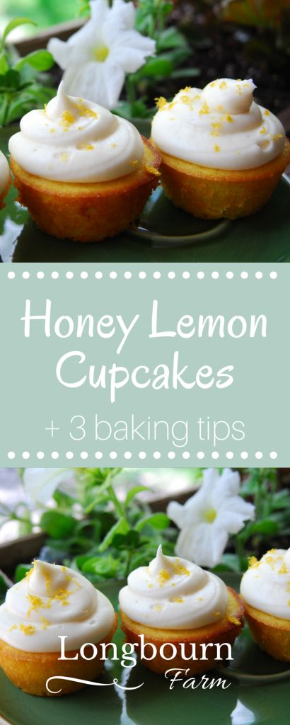 Simple recipe for moist & delicious honey lemon cupcakes plus three amazing baking tips to make sure your baked goods don't turn out dry or tough!