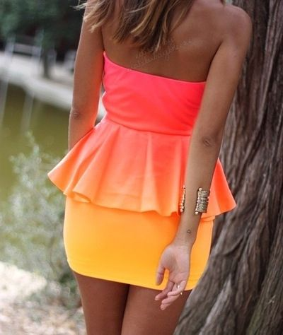 Cute peplum ombré dress