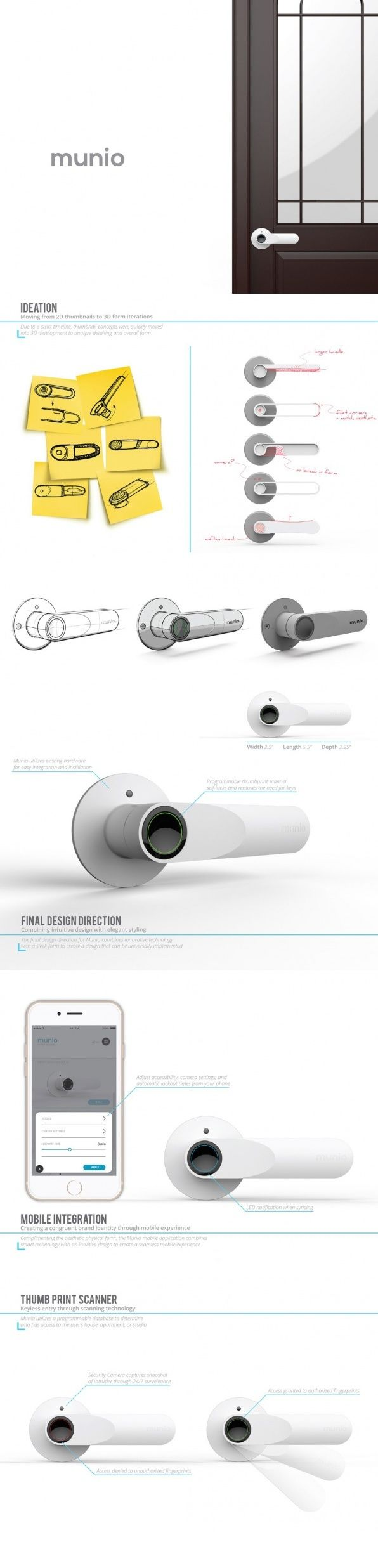 Security is probably one of the most brilliant applications of IoT technology. The MUNIO Smart handle brings simplicity of use to this equation to make a door handle that's virtually trespasser-proof wherein it uses fingerprint recognition technology along with a surveillance camera to engage/disengage the locking mechanism on the door. #Decor #Door #YankoDesign