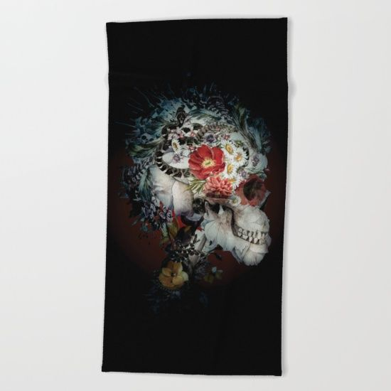 """Lay out like a pro with this super comfy, oversized and unique artist-designed Beach Towel. The soft polyester-microfiber front and cotton terry back are perfect for, well, drying your front and back. This design is also available as a bath and hand towel. Machine washable.  Towel Dimensions: <br>Hand Towel 30""""x15"""", Bath Towel 64""""x32"""", Beach Towel 74""""x37"""" #skull #snake #dark #art"""