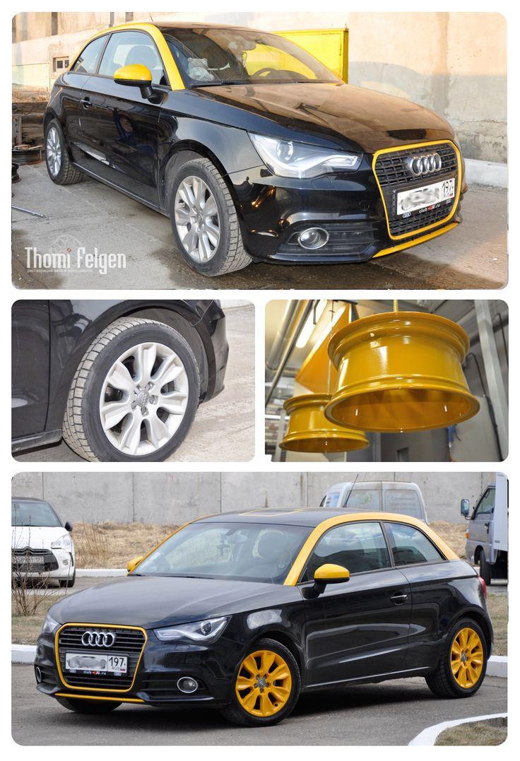 Порошковая покраска дисков для Audi в желтый цвет #wheels #powdercoating #yellowweels #audi