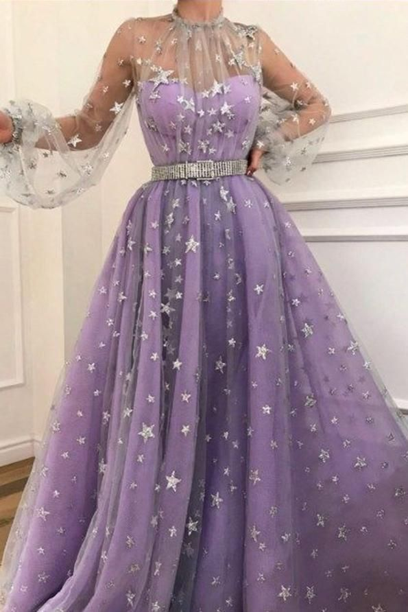 Long Sleeve A-line Sparkly Star Lace Lilac Long Prom Dresses OKG83 ... 58f8989f9f4d