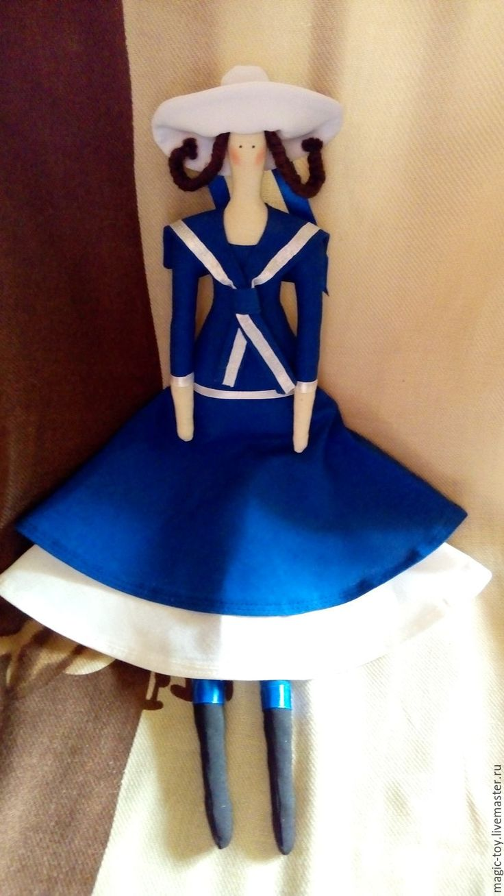 Купить Кукла Тильда Морская - тёмно-синий, белый, морской, кукла Тильда, кукла выкройка