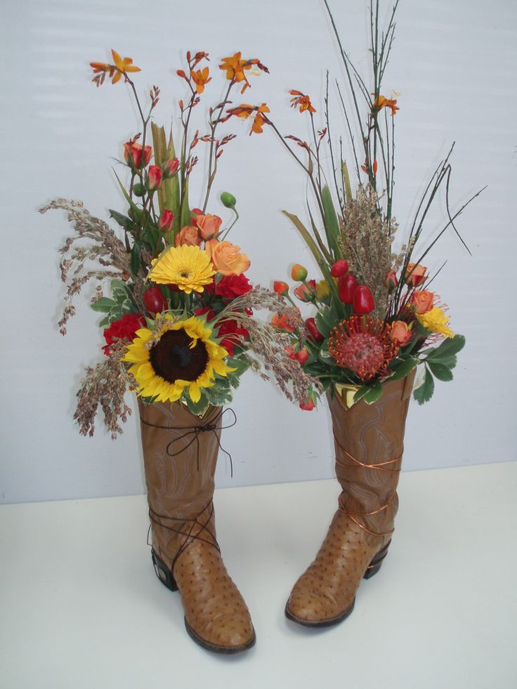 Western Wedding Flower Arrangements | ... for unique containers to hold flowers in. How about some cowboy boots