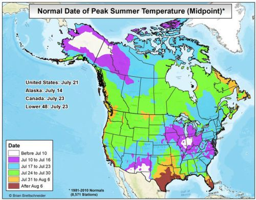 Normal Date Of Peak Summer Temperatures In U S Canada More By Climatologist49 Map Shows The Date Where The Seasonal Daily Normal Temperatures Reach