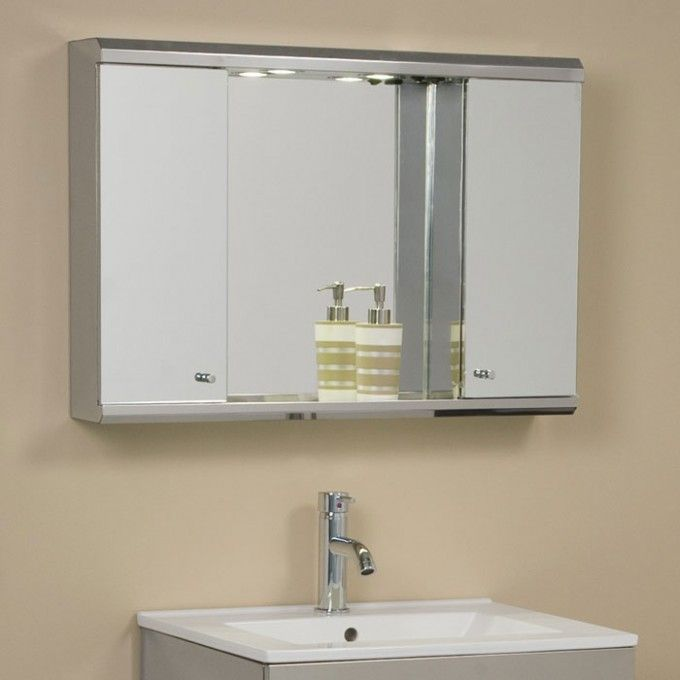 Best 25 medicine cabinets with lights ideas on pinterest illumine dual stainless steel medicine cabinet with lighted mirror aloadofball Images
