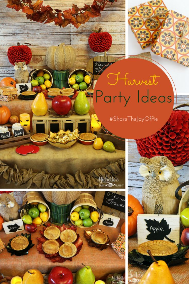 Harvest Pie Party Ideas - Share the Joy of Pie and host a Harvest Pie Party this Holiday Season! Full Party Plan by Michelle's Party Plan-It, including DIY Up-cycled Pie Boxes, Pie on the Go and Free Printables. #ShareTheJoyOfPie AD