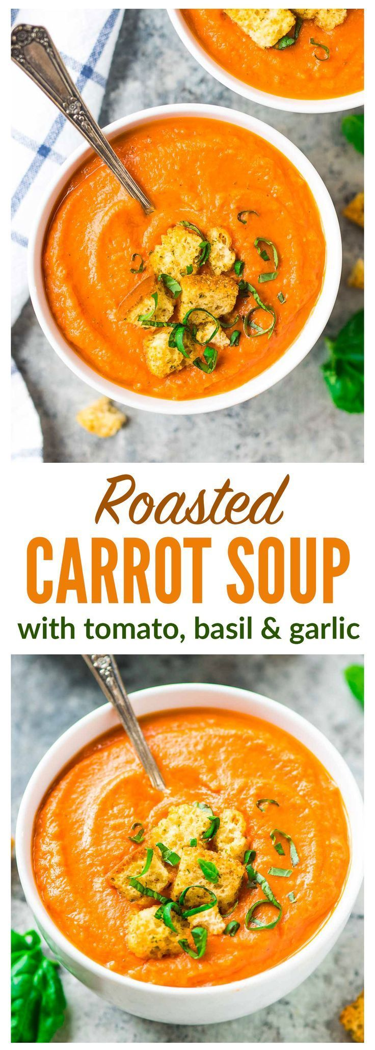 Roasted Carrot Tomato Soup - An easy roasted carrot soup with garlic, cumin, and Greek yogurt to make it creamy and filling. Simple, healthy, and great leftover for lunches and dinners all week long! Recipe at http://wellplated.com | /wellplated/