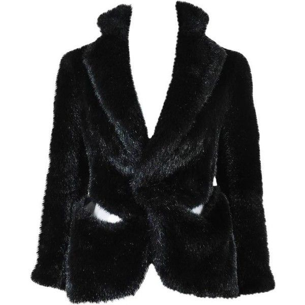 Preowned Junya Watanabe Comme Des Garcons Black Faux Fur Sheer Panel... (1 695 PLN) ❤ liked on Polyvore featuring outerwear, jackets, black, boxy jacket, box jackets, faux fur lined jackets, faux fur jacket and fake fur jacket