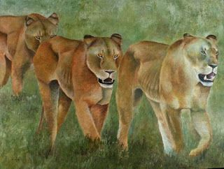 Leonas, the game by Alfonso Jaraiz. Painting want to show a group of lionesses in a time of calamity is a terrible drought in full African plain , are exhausted is the harsh reality, die or survive.