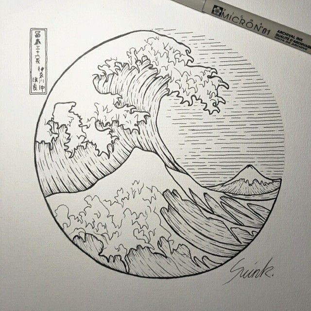 the great wave off kanagawa circle tattoo - Google Search tatuajes | Spanish…